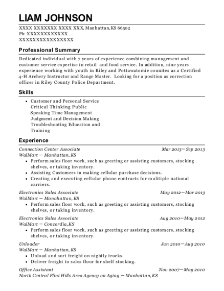 Connection Center Associate resume template Kansas