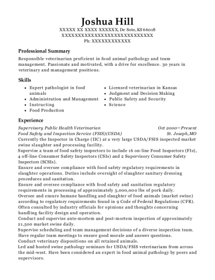 Supervisory Public Health Veterinarian resume template Kansas