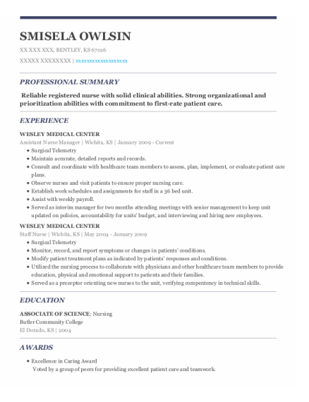 Assistant Nurse Manager resume template Kansas
