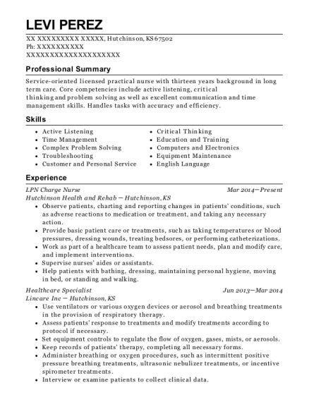 LPN Charge Nurse resume template Kansas