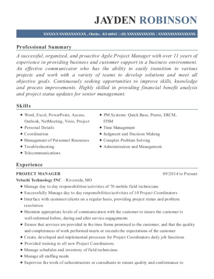 sprint solutions implementation project manager resume
