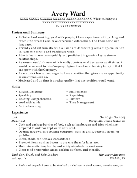 Cook resume template Kansas