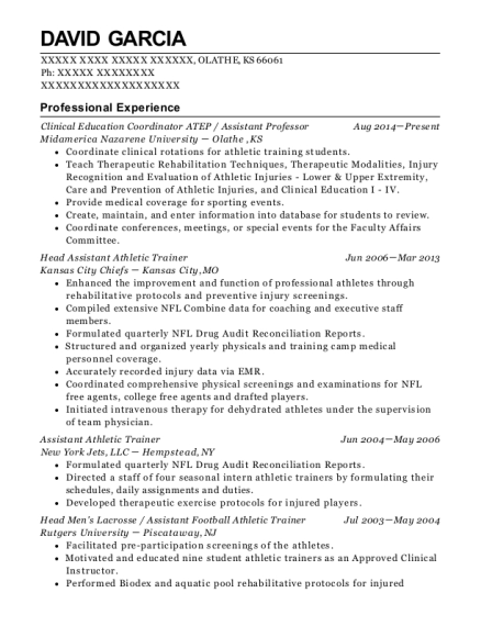 Clinical Education Coordinator ATEP resume format Kansas