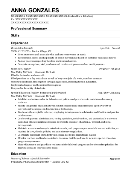 Retail Sales Associate resume sample Kansas