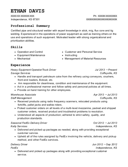 Heavy Equipment Operator resume format Kansas