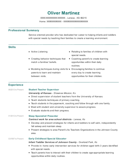 Student Teacher Supervisor resume example Kansas