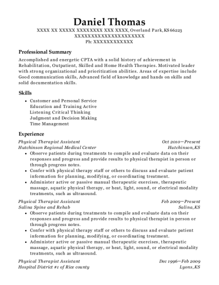 Physical Therapist Assistant resume example Kansas