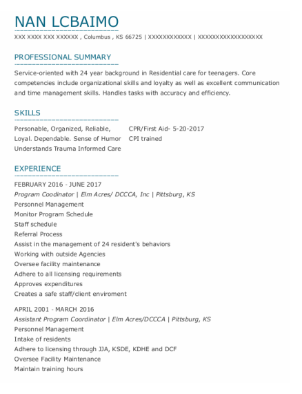 Program Coordinator resume sample Kansas