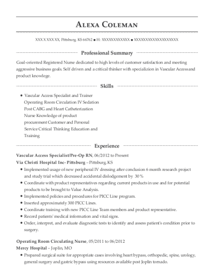 lake health systems circulating nurse resume sample
