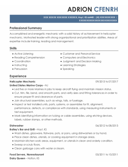 Helicopter Mechanic resume template Kansas