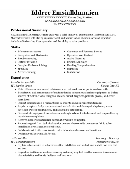 Installation Specialist resume example Kansas