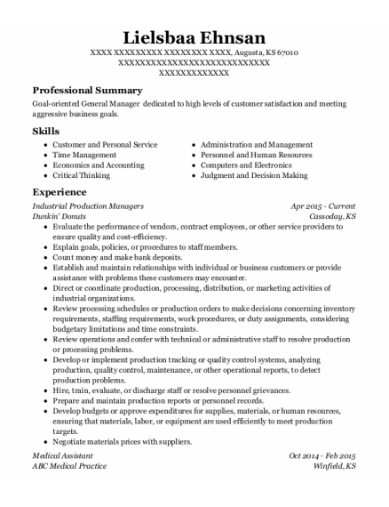 Industrial Production Managers resume template Kansas