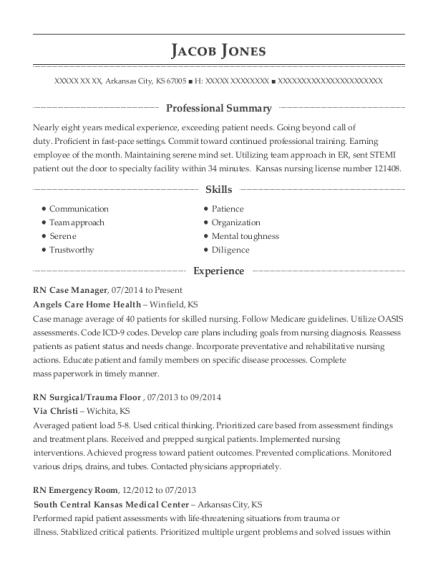 RN Case Manager resume example Kansas