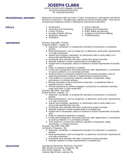 Foreman resume example Kansas