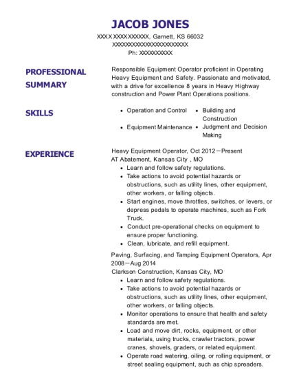 Heavy Equipment Operator resume template Kansas