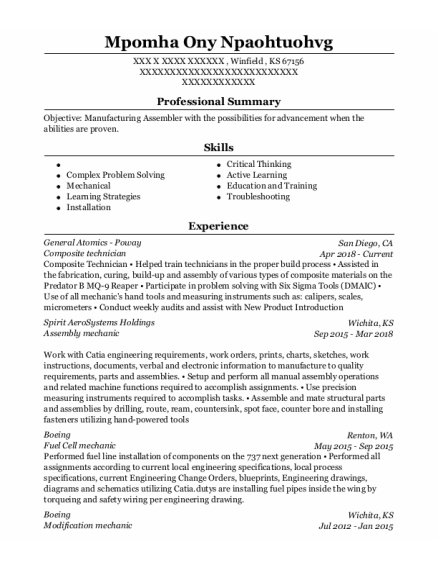 Composite Technician resume sample Kansas