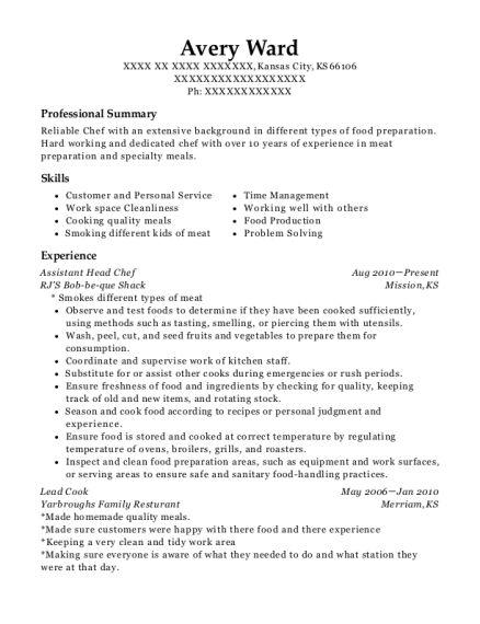 Assistant Head Chef resume sample Kansas