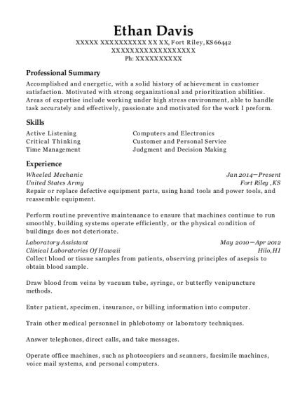 Wheeled Mechanic resume template Kansas