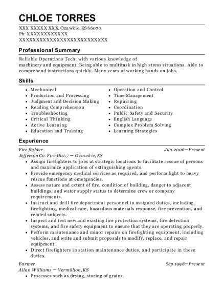 Fire Fighter resume format Kansas