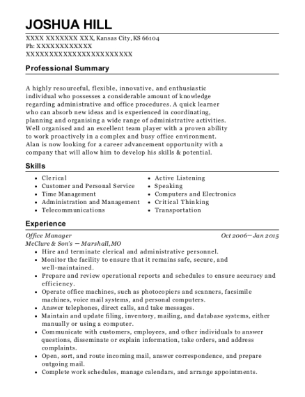 Office Manager resume example Kansas