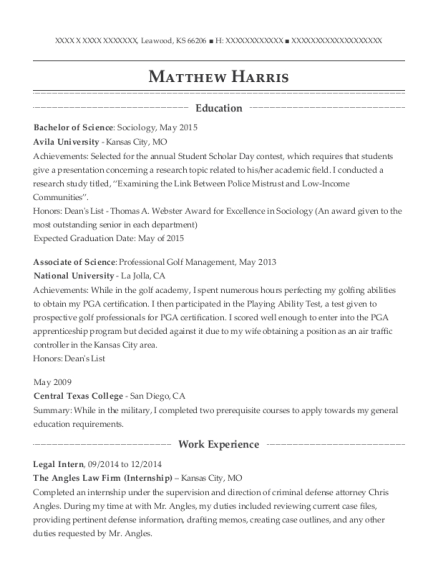 Legal Intern resume template Kansas