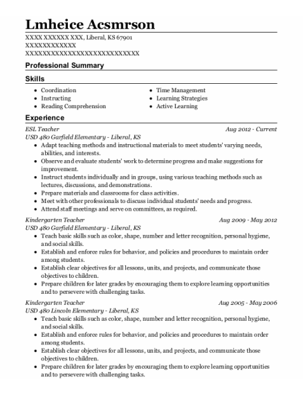 ESL Teacher resume template Kansas