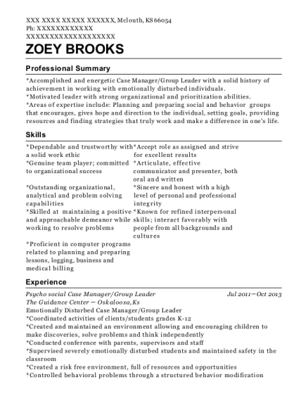 Psycho social Case Manager resume template Kansas