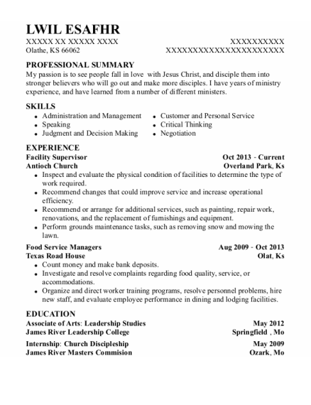 Facility Supervisor resume example Kansas