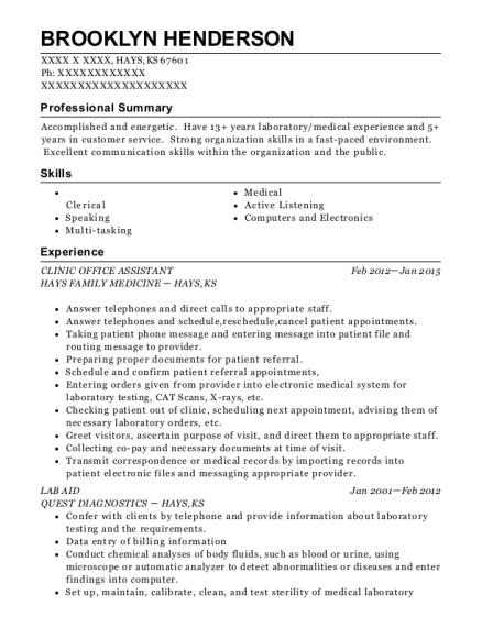 CLINIC OFFICE ASSISTANT resume format Kansas