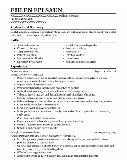 Dental Assistant resume example Kansas