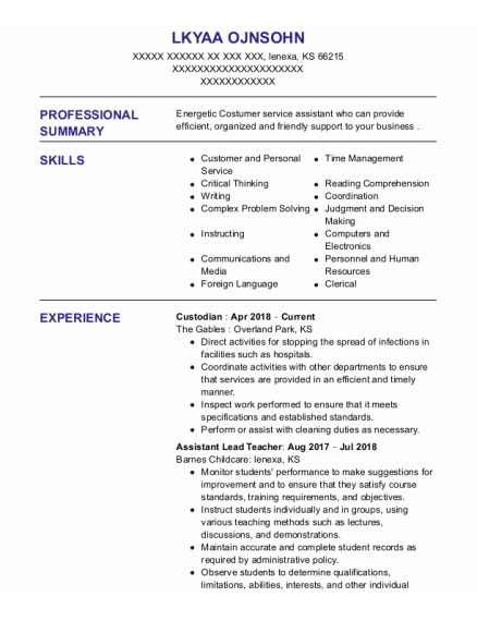 Custodian resume template Kansas