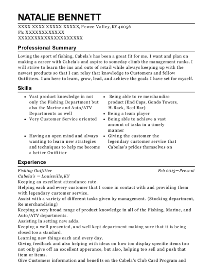 Fishing Outfitter resume template Kentucky