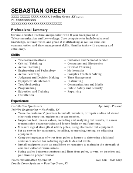 Installation Specialists resume template Kentucky