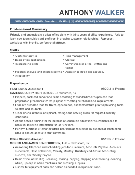 Food Service Assistant 1 resume sample Kentucky