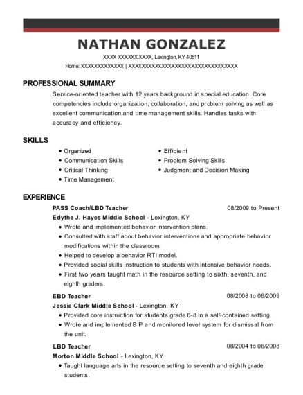 Edythe J Hayes Middle School Pass Coach Resume Sample