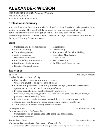 Butcher resume example Kentucky
