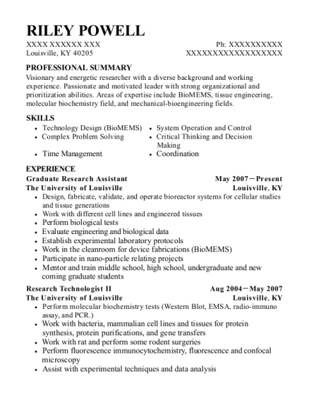 Graduate Research Assistant resume example Kentucky