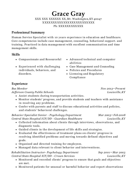 Bus Monitor resume example Kentucky