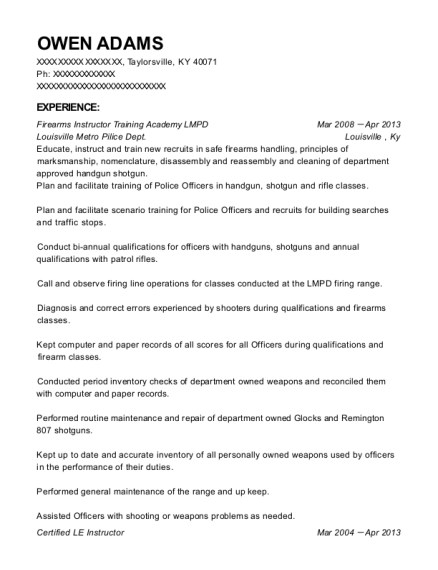 Firearms Instructor Training Academy LMPD resume example Kentucky