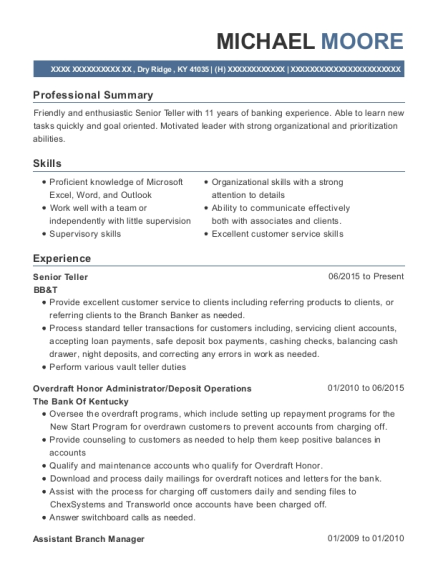 Senior Teller resume example Kentucky