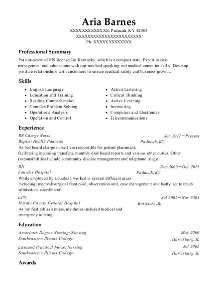 RN Charge Nurse resume template Kentucky