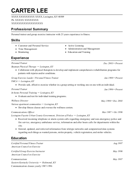 Personal Trainer resume example Kentucky