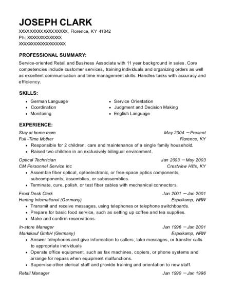 Stay at home mom resume sample Kentucky