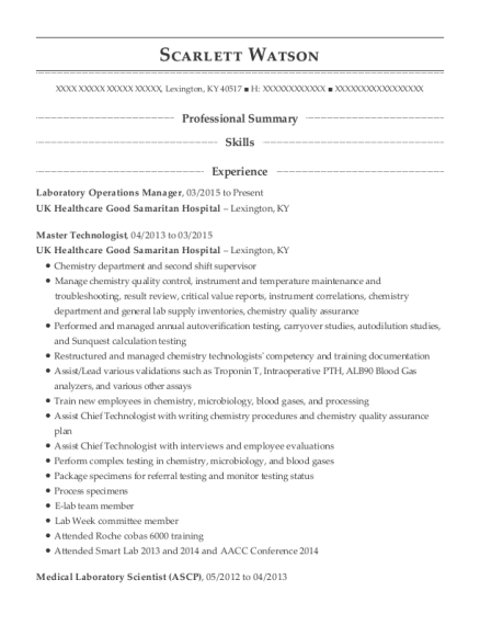 Laboratory Operations Manager resume format Kentucky