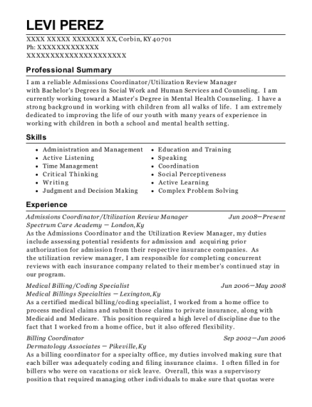 technical learning centers admissions coordinator resume