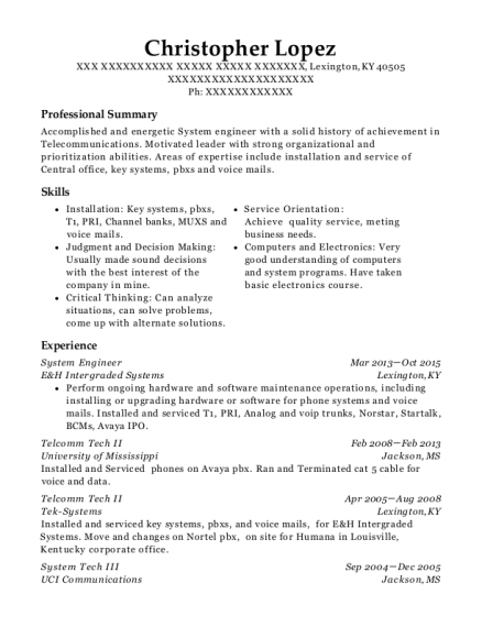 System Engineer resume example Kentucky