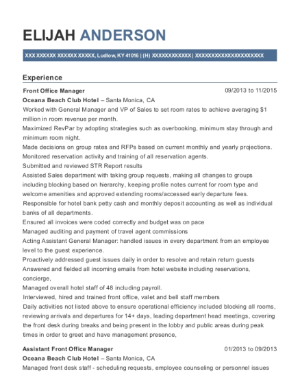 Front Office Manager resume format Kentucky