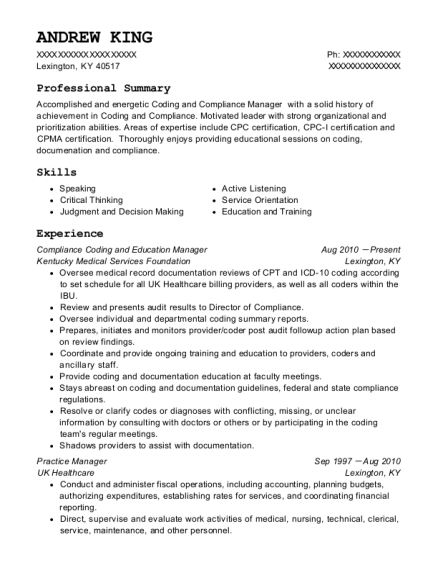 Compliance Coding and Education Manager resume format Kentucky