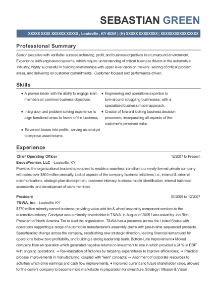 Chief Operating Officer resume example Kentucky