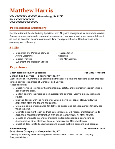 Chain Route Delivery Specialist resume template Kentucky